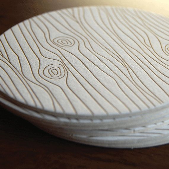 Wood Grain coaster Letterpress printed SET of by paisleytreepress, $12.00