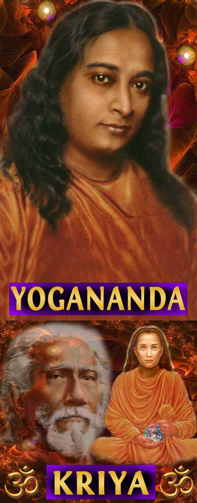 """This has been my profile picture on Facebook, Beloved Teacher Yogananda, well known by most spiritual seekers, """"Autobiography of a Yogi"""" is his famous book and I recommend it fully if you have not read it yet, below in the picture on the left is Yogananda's guru Sri Yukteswar and on the right side you see Mahavatar Babaji , Mahavatar Babaji is an Ascended Master, he is the founder of kriya yoga."""