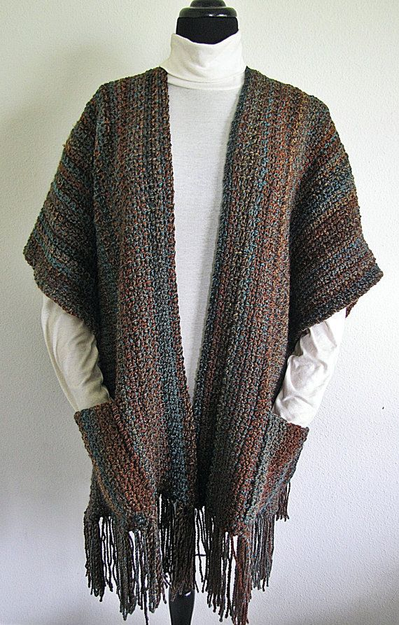 Indian Summer Ruana PDF Crochet Pattern Wrap Shawl by BellaCrochet, $7.95