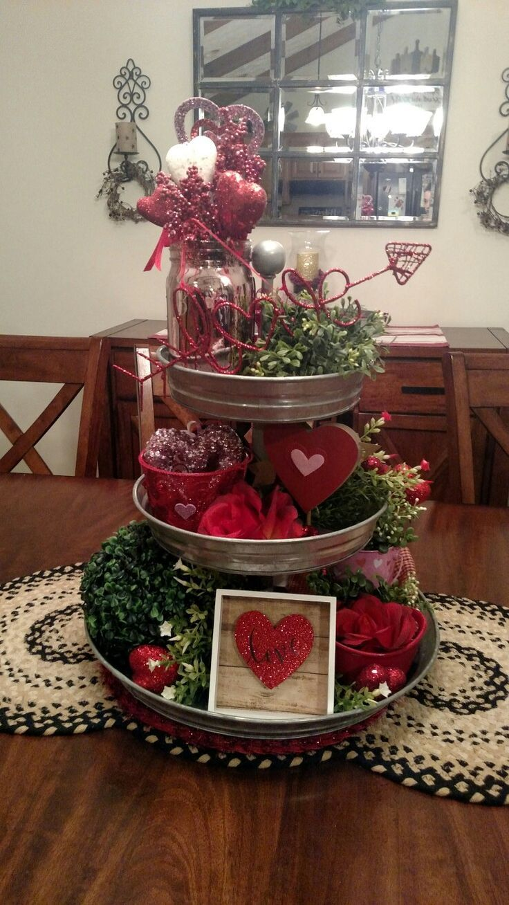 Valentine S Day 3 Tier Tray Decor Diy Valentines Decorations Diy Valentine S Day Decorations Valentine Centerpieces