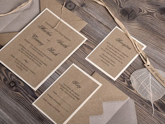 Eco Wedding Invitations 10 Recycling Paper by 4invitationwedding