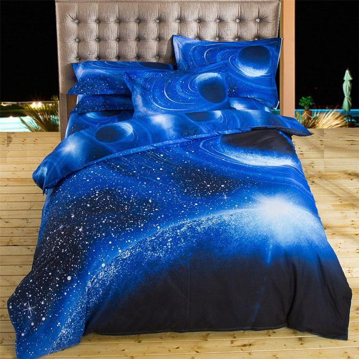 2017 conjuntos de cama 3d universo exterior azul espaço galaxy novo 4/3 pcs Venda Fronha Colcha Lençol Capa de Edredão Rainha Gêmeo XK003 em Conjuntos de cama de Home & Garden no AliExpress.com | Alibaba Group