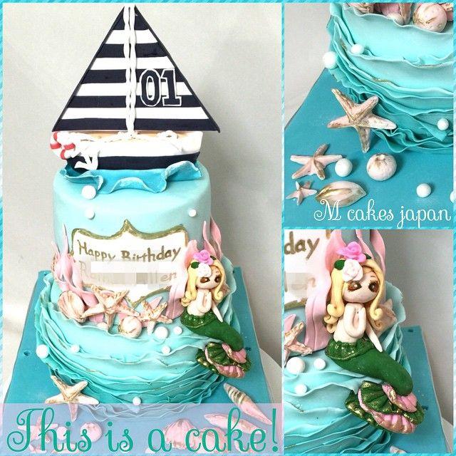 mcakesjapanUnder the seaイメージなケーキ❤️⛵️ #海 #sea #beach #mermaid #ヨット #fondant #fondantcake #sweets #sugar #edible #edibleart #birthdaycake #誕生日ケーキ #Japan #2段ケーキ