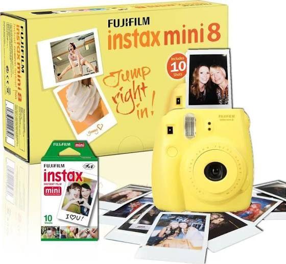 fuji polaroid camera yellow