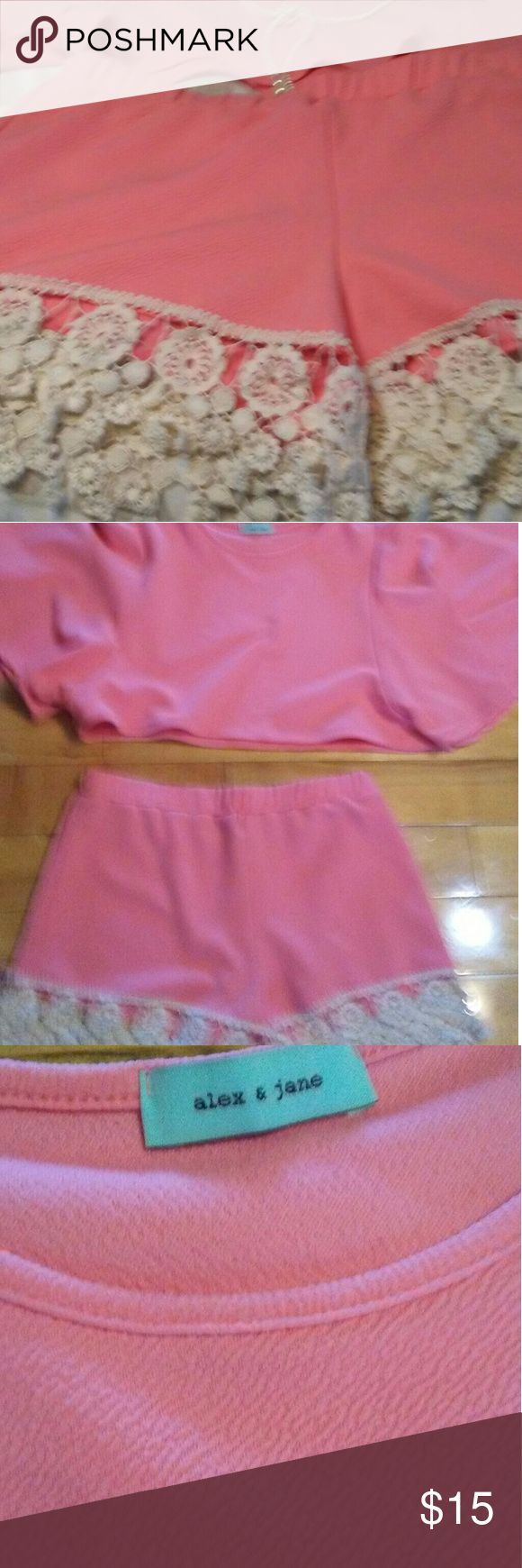Shorts w/ Top Peach shorts w/ lace trim on bottom of shorts. top comes with the set 2pcs. Very trendy ?? peach w/cream color lace alex & jane  Shorts
