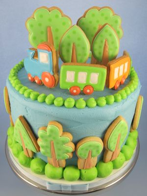 Cake decorated with cookies...