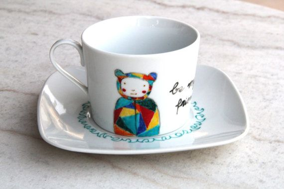 Hand painted cup hand painted porcelain tea by NataliesWunderland
