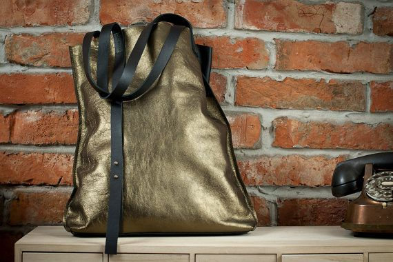 love it, awesome golden leather tote