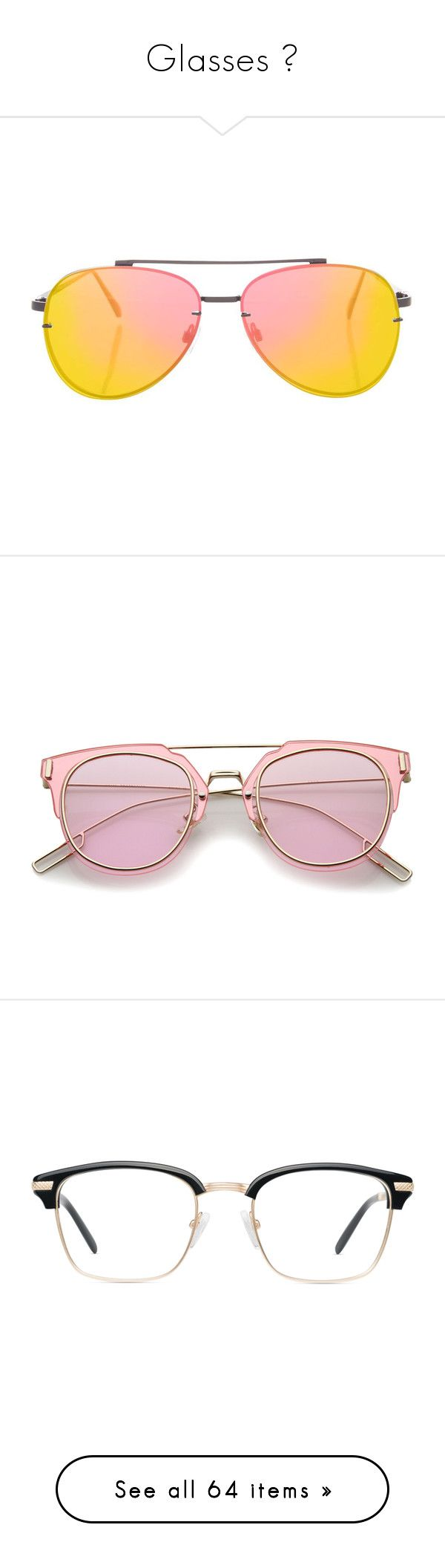 """Glasses 👓"" by b-oooty ❤ liked on Polyvore featuring accessories, eyewear, sunglasses, metal glasses, metal sunglasses, flat lens sunglasses, topshop sunglasses, glasses, pink and pink glasses"