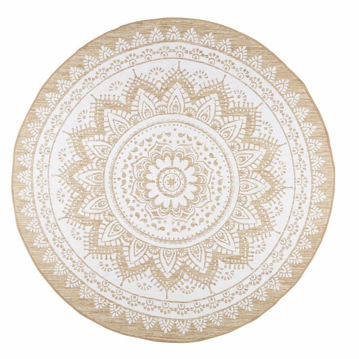 Tappeto bianco in iuta e cotone D.180cm MANDALA