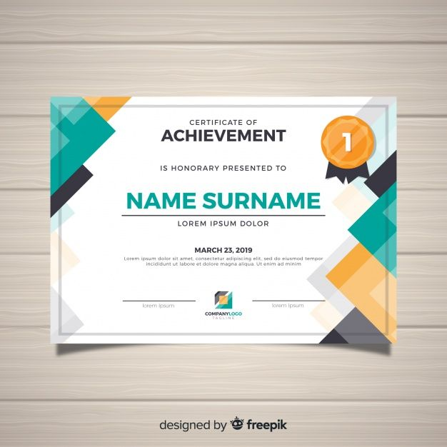 Download Modern Certificate Template In Flat Style For Free