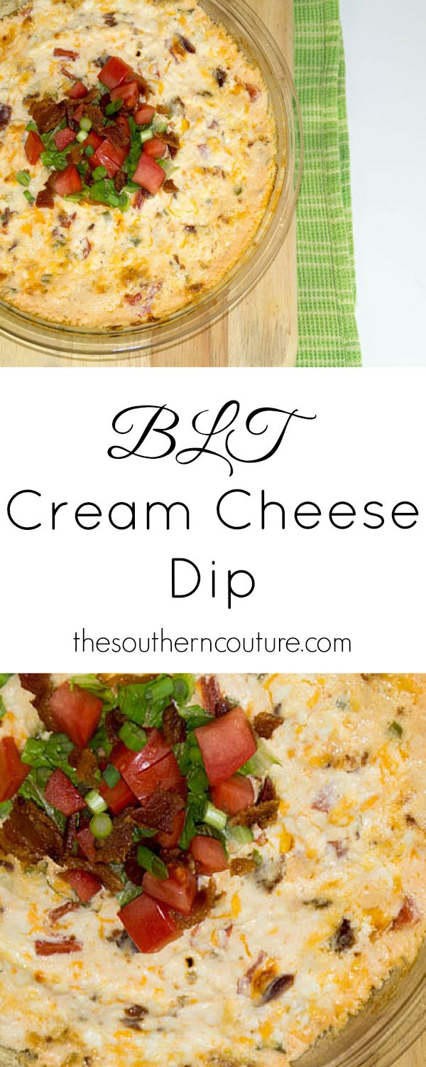 You had me at bacon and cream cheese. You and your guests will be dippin for hours like pigs with this delicious party appetizer. BLT's don't have to just be a sandwich at thesoutherncouture.com.
