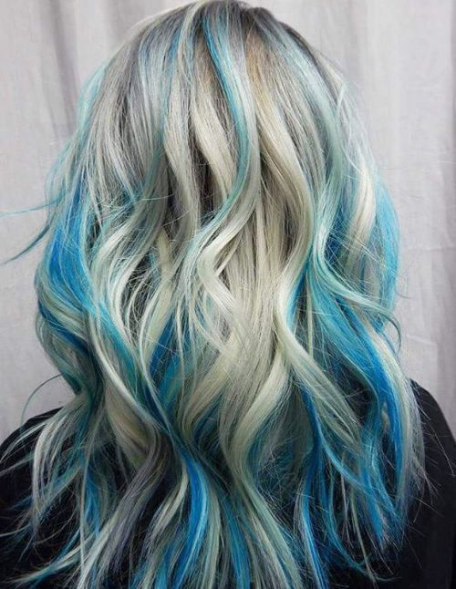 long blonde hair with pastel blue highlights