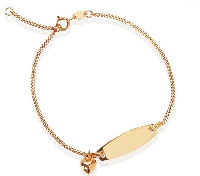 Złota bransoletka z grawerem dla dziewczyny Na bransoletce możemy zamieścić indywidualny grawer z imieniem lub datą, który uczyni ją niepowtarzalną.   #dedykacja #grawer #napis #prezent #złoto