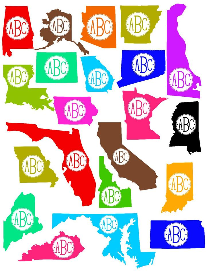 Monogram decal with state detail by vinylcreationsbytori on etsy