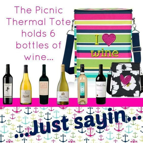Thirty-One Picnic Thermal! SIX bottles of wine! Perfect girls night thermal! www.mythirtyone.com/djester
