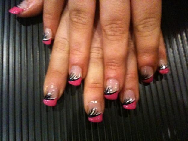 Pink Acrylic Nail Designs | ... : Astonishing Pink Black Minimalist Gel Nails Dublin Elegant Design