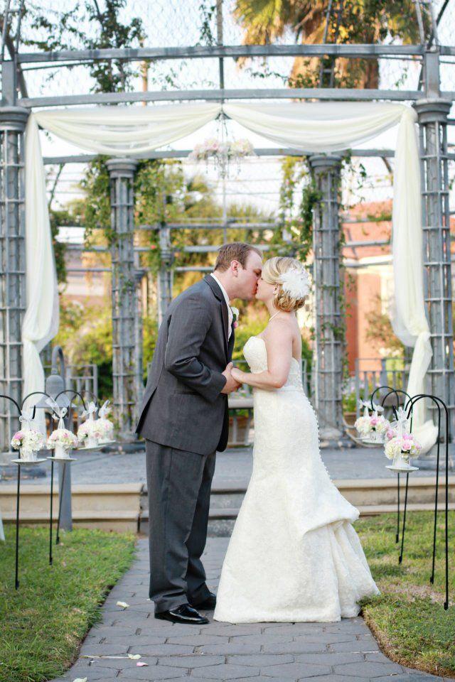 Ashton Villa garden ceremony setup Beach wedding