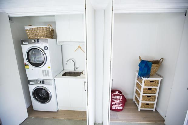 Loz and Tom's Bathroom and Laundry - Room Reveals - Loz and Tom - Teams - The Block NZ - Shows - TV3 - GREAT STORAGE ROOM TOO