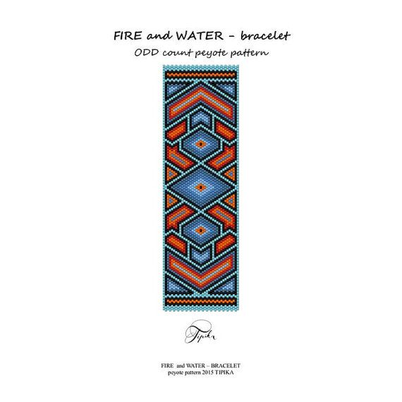 peyote pattern fire and water bracelet