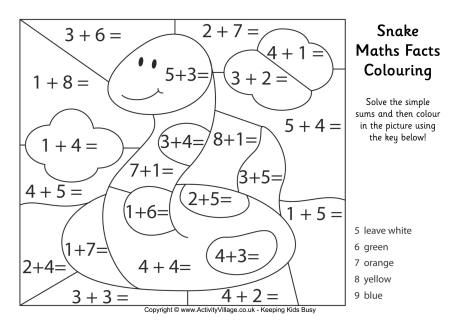 Snake maths facts colouring page