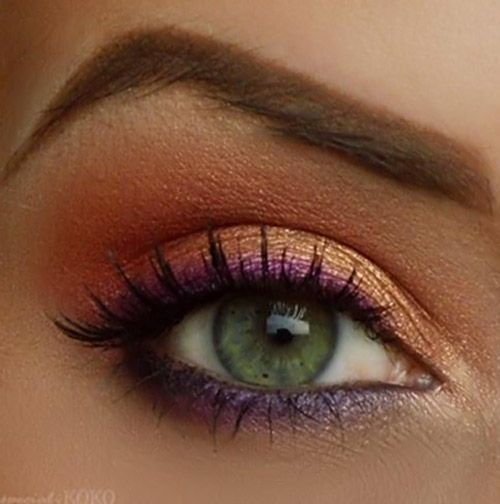 7 Awesome Eye Make-up Tricks To a Beautiful You | Like It Short. Copper eyeshadow, purple liner.