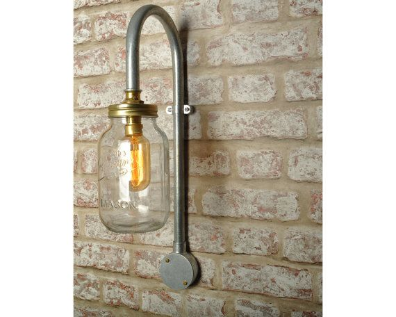 the ely wall light new industrial jar swan neck vintage lighting sconce works with led bar restaurant loft urban farmhouse steampunk pipe