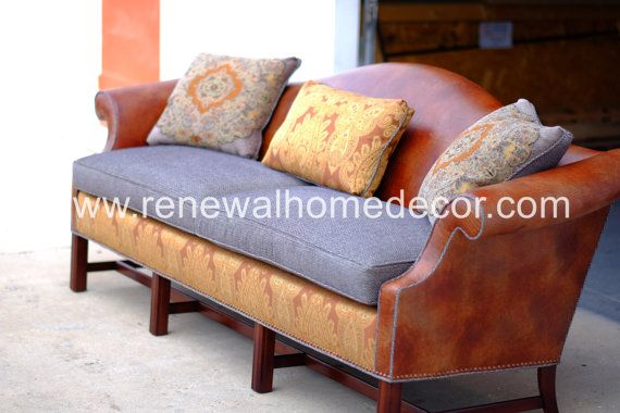 Custom Order Leather and fabric camel back by ReNewalHomeDecor