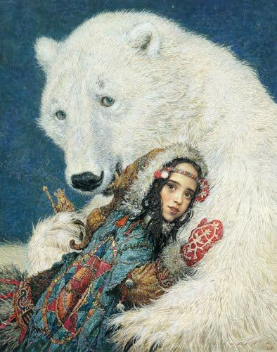 "bear with girl ;   by Russian painter Anton Lomaev, illustration for the book ""East"" by Edith Pattou about the Norwegian girl Rouse."
