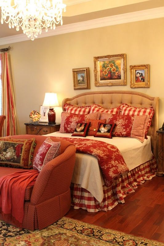Rattle bridge Farms, Country bedroom, like the patterns, just no roosters... Red traditional, French country, decor..
