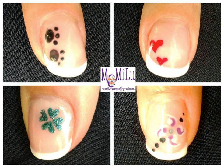 """Ecco qualche piccola idea per vivacizzare la mia tanto amata french manicure. Provate a realizzare il decoro solo su pollice e anulare. Effetto """"WOW"""" assicurato! #french #frenchmanicure #verde #green #nero #black #rosso #red #cuori #impronte #nailart #nailpolish #nail #nails #MoMiLuMakeUp"""