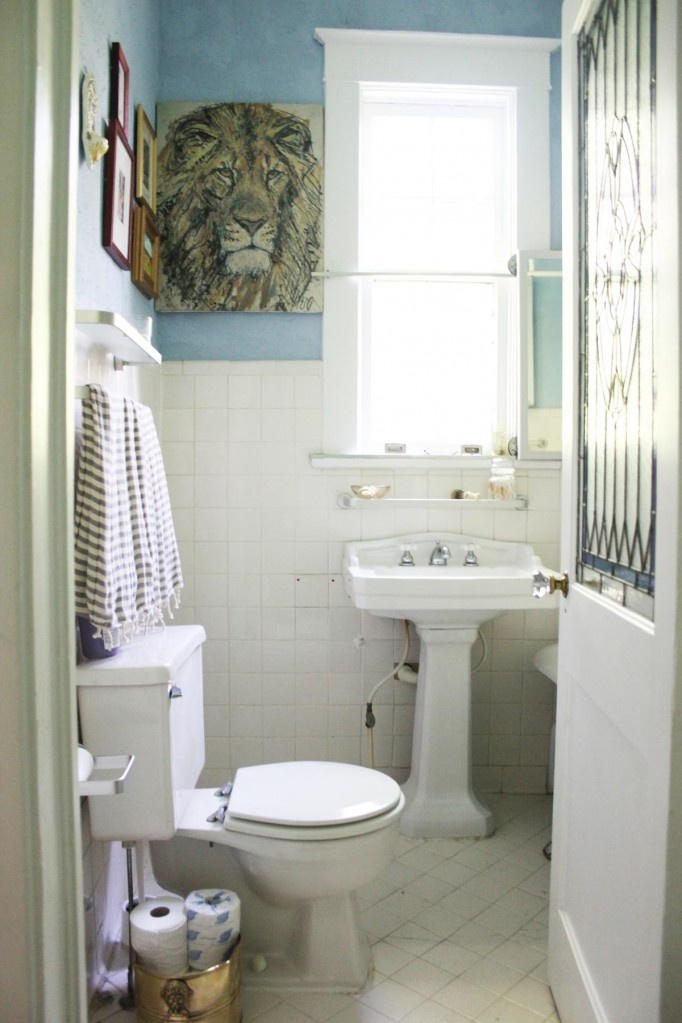Exceptional Small, Blue Bathroom With Window Over Pedestal Sink And Clawfoot Tub
