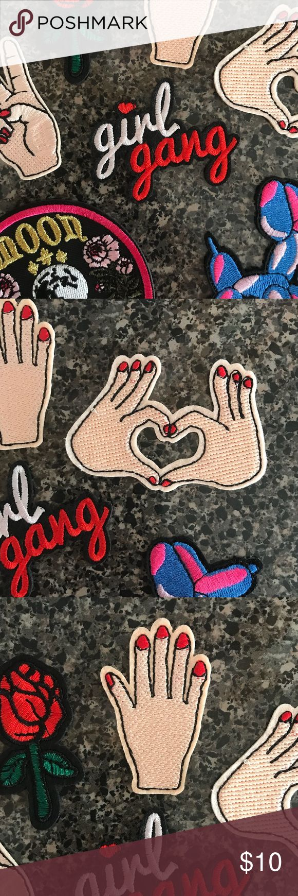 3-pack of Patches Set of 3 stitched patches, can be iron on or stitched on. Photos 2-4 are actual patches. Set of 3 includes one of each: Girl gang in white and red cursive lettering, heart hands with red nails & high five hand patch with red nails.  New in package, perfect for ironing onto a denim jean jacket or tee, backpack, or beanie for a funky 90's retro vibe! ✌🏼 Accessories