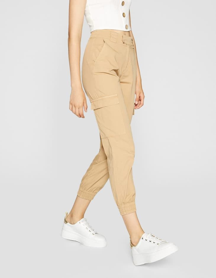 aecef7dfac4 Cargo trousers with cuffed hems - Trousers