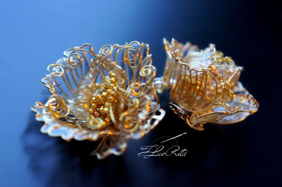 Gold transparent earrings wire flower jewelry  glass