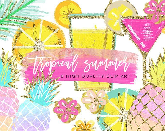Tropische illustraties, aquarel zomer Clipart, ananas zomer Clipart, strand Clipart, citroen Clipart, ananas Clipart, handtekening drankje