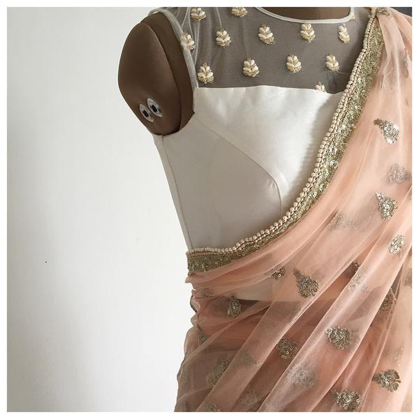 The Peach Mogra Sari