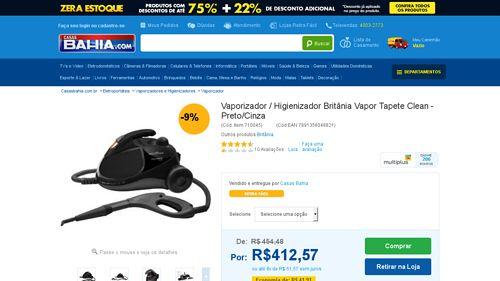 [Casas Bahia] Vaporizador / Higienizador Britânia Vapor Tapete Clean - Preto / Cinza 110V por R$ 391,94