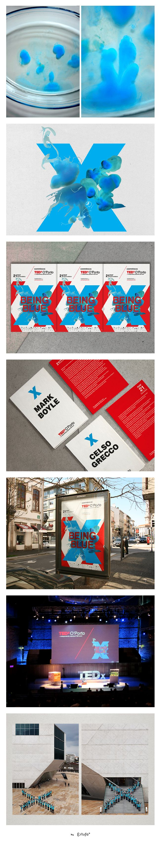 "I D E N T I T Y — Graphic identity for TEDx O'Porto 2011 at Casa da Música with the theme ""being blue""."