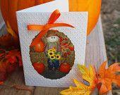 Halloween Card,Thanksgiving Card, Scarecrow Card, Pumpkin Card, Sunflower Card, Fall Note card, Party Invitation