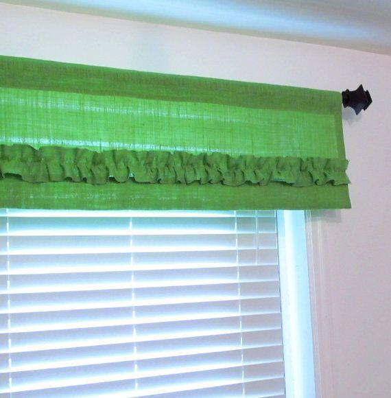 Lime Green Burlap Ruffled Valance Custom Sizing Available Ruffled Curtains Curtain Valances