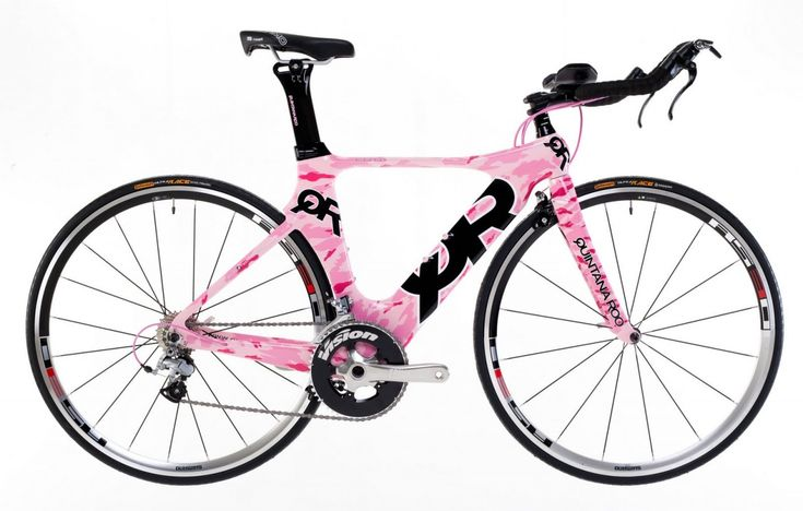 Sexy as all git out! The Quintana Roo women's carbon frame triathalon bike.