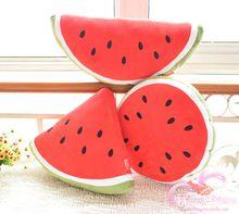 Gratis verzending leuke pluche watermeloen 100% katoen gevuld rugkussen sierkussen auto kussen retail(China (Mainland))