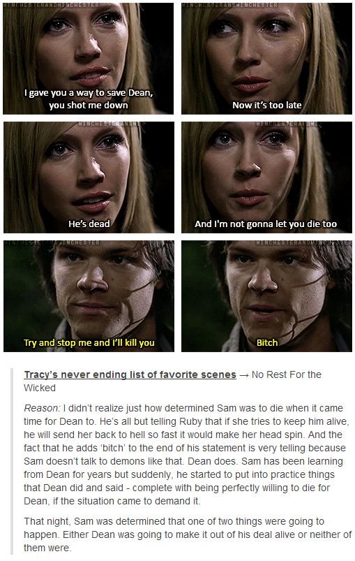 "I didn't realize just how determined Sam was to die when it came time for Dean to. He's all but telling Ruby that if she tries to keep him alive, he will send her back to hell so fast it would make her head spin. And the fact that he adds ""bitch"" to the end of his statement is very telling because Sam doesn't talk to demons like that. Dean does. Sam has been learning from Dean for years, but suddenly he started to put into practice things that Dean did and said"