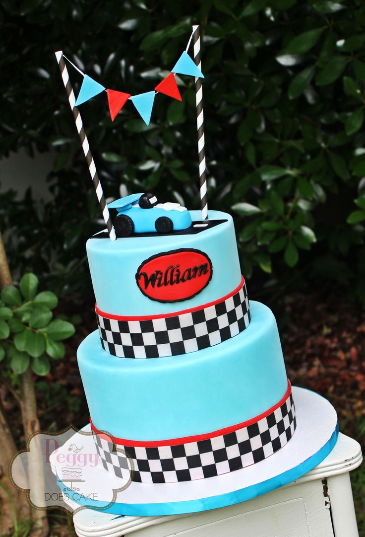 Race car themed first birthday cake