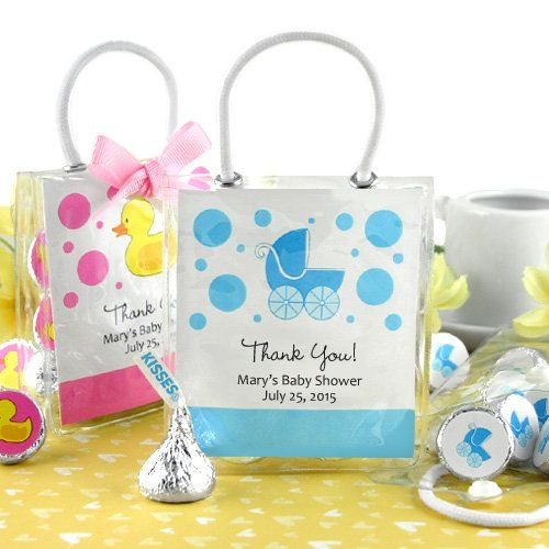 The 25 best personalized baby shower favors ideas on pinterest personalized baby shower hersheys kisses mini gift tote negle Choice Image