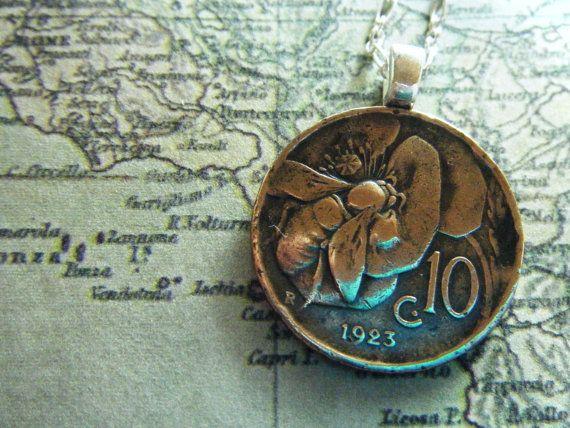 Vintage PreWar Italian Copper Honey Bee Coin Pendant by roxcraft, $47.00