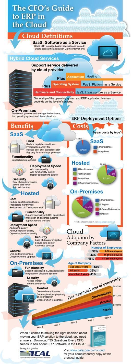 ERP IN THE CLOUD - This infography presents a good summary of the implications that cloud computing can offer as an alternative model to traditional ERP software package acquisition.