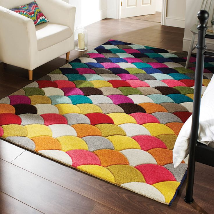 Spectrum Jive Rugs feature a vibrant fan of multicolours which is hand carved to enhance the fabulous effect. #DreamHouses #Interiors