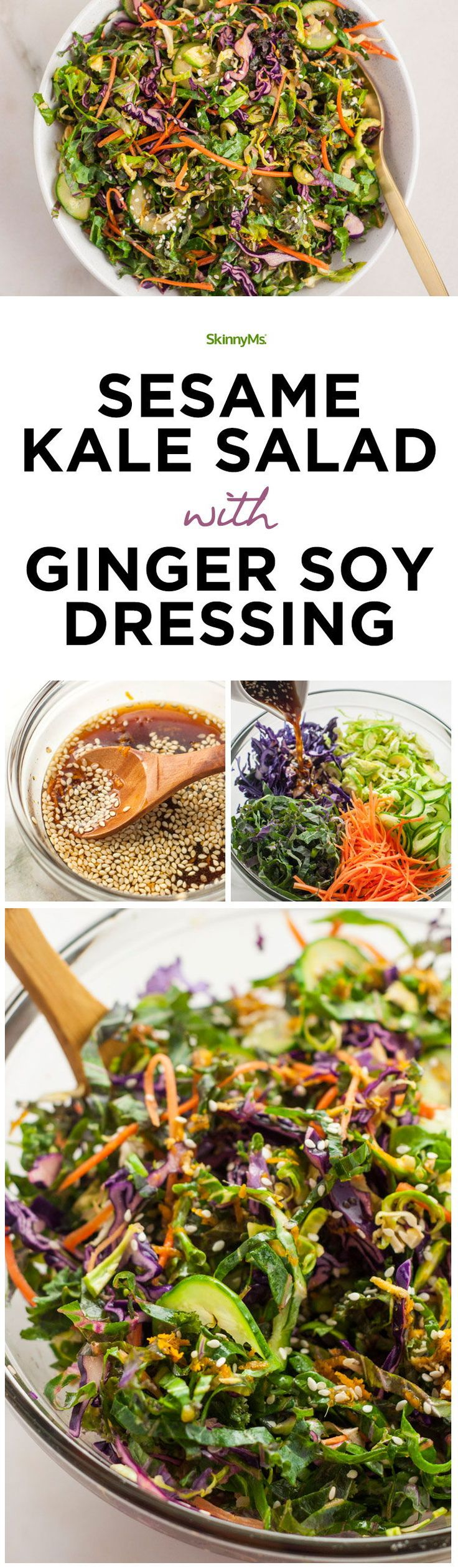 Sesame Kale Salad with Ginger Soy Dressing - Everything from the perfect tanginess to the crispy textures, this salad is a true winner. #salad #cleaneating #vegetarian #recipe